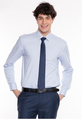 Wharton blue Bamboo Tech Long Sleeve Shirt FD08CAAF8DBCD0GS_1