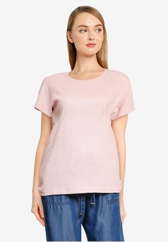 LC Waikiki 粉紅色 Textured Crew Neck Crepe T-Shirt 3CD6AAA3260B97GS_1