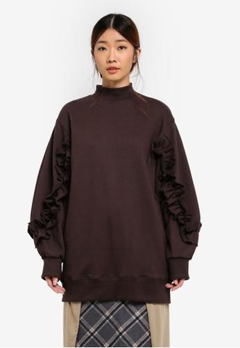Stylenanda brown Ruffle Drop Sleeve Long Sweatshirt 20D69AA72918D4GS_1