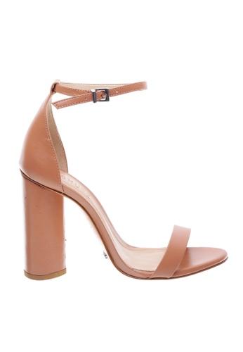 SCHUTZ beige SCHUTZ Strap Block Heel Sandal - CURRENT (TOASTED NUT) B5444SH04EAE8EGS_1