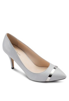 Metallic Strip Pointed Pump Heels