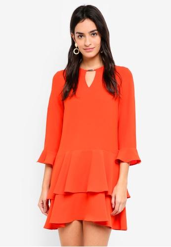 ZALORA orange Layered Flute Sleeve Dress D1B28AA679E05FGS_1