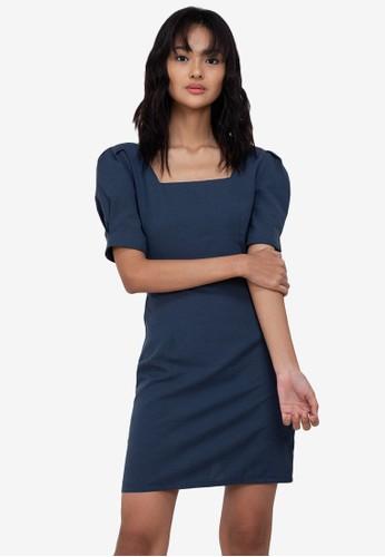 ZALORA BASICS navy Square Neck Puff Sleeve Mini Dress CB7B9AAA6DE5DDGS_1
