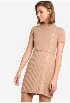 5651f6cf36 Free People beige Lottie Rib Dress ECBB0AAD3DB7E0GS 1