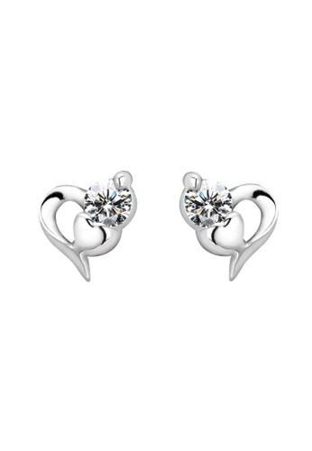 Fur Nyce silver 925 Sterling Silver Cubic Zirconia Heart Earrings FU779AC16OCDMY_1