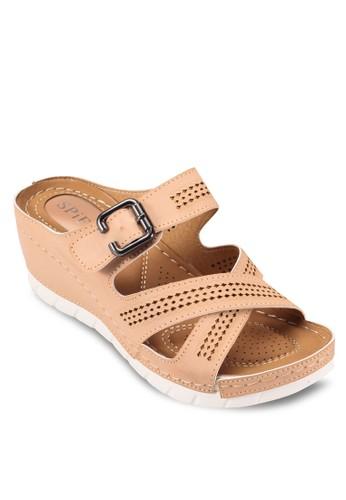 網孔繫帶楔型鞋, esprit地址女鞋, 楔形涼鞋