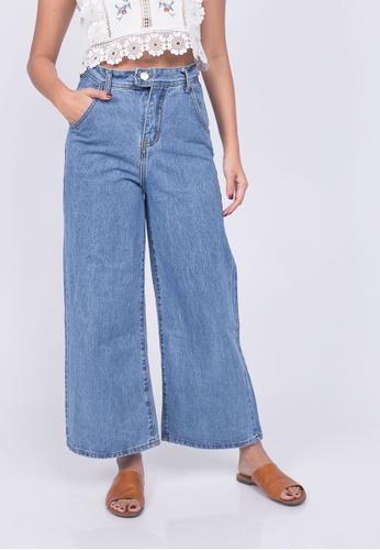 Caoros blue Wide Leg Crop Jeans A3CB8AAE7DE0B9GS_1