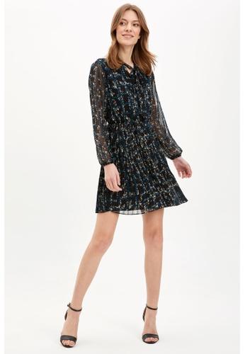 DeFacto navy Long Sleeve Mini Dress A9E5FAA8179034GS_1