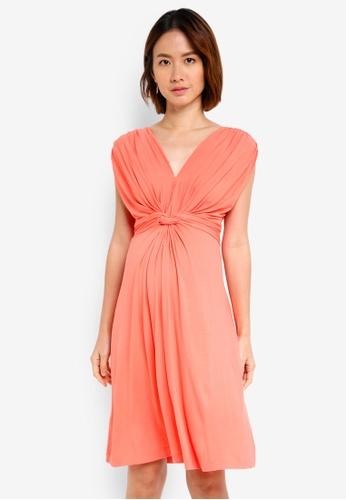 Pietro Brunelli Milano pink Papaver Knot Front Maternity Dress AE1C5AA7E468FFGS_1