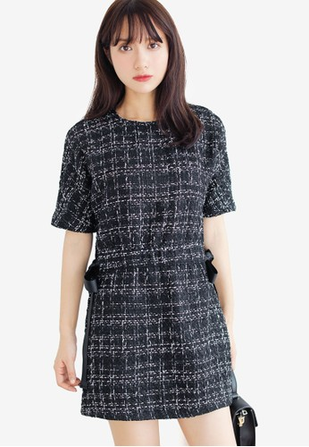 Shopsfashion black Tweed Mini Dress EA4A7AAC7FDF3DGS_1