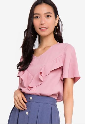 ZALORA 粉紅色 短袖荷葉飾上衣 62E32AA7E7724FGS_1