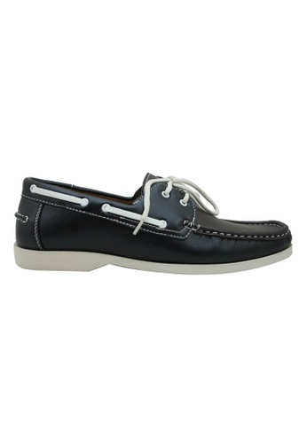 midzone black and brown Faux Leather Boat Shoe MI949SH82YLPMY_1