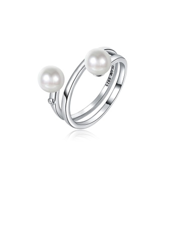 Glamorousky white 925 Sterling Silver Elegant Noble Fashion Adjustable Opening Ring with Pearl D6C5BAC5F0992CGS_1
