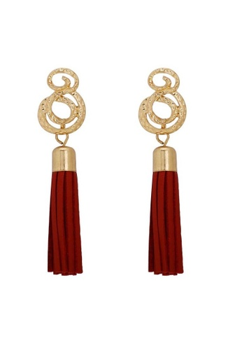 A-Excellence gold Round Long Drop Earrings E368EAC3518322GS_1