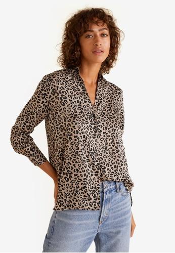 Mango black Leopard Print Shirt DFC2CAAE39EF48GS_1