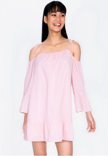 ZALORA BASICS pink Lace Swing Dress 4FFDCAA719475EGS_1
