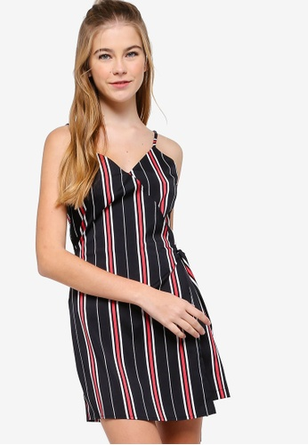 Something Borrowed black and pink Fake Wrap Playsuit 53506AABF95516GS_1