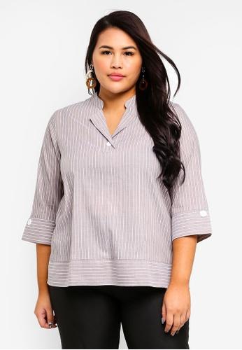 Ex'otico grey Plus Size 3/4 Sleeve Striper Blouse B4D02AAF8EEC04GS_1