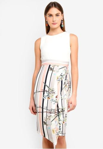 CLOSET white and multi Draped Skirt Dress B8DE8AA1117EA3GS_1