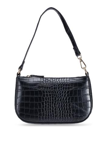 MISSGUIDED black Croc Shoulder Bag BC647AC6E07778GS_1