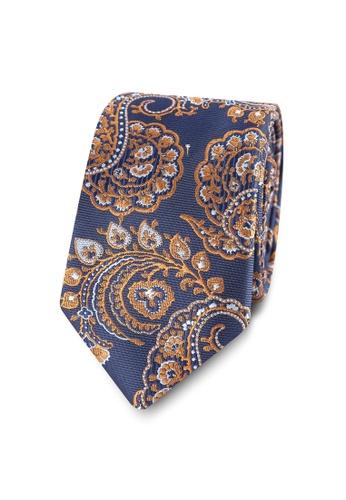 Burton Menswear London navy Paisley Woven Tie BU964AC0S2BBMY_1