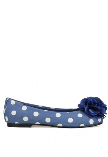 SPUR white and blue Polka Dots Corsage SP642SH08JPJHK_1