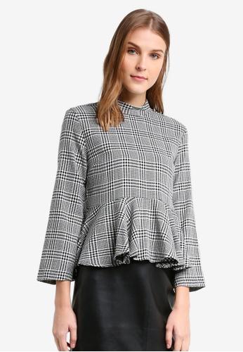 TOPSHOP grey Petite Asymmetric Hem Checkered Top TO412AA0T0V1MY_1