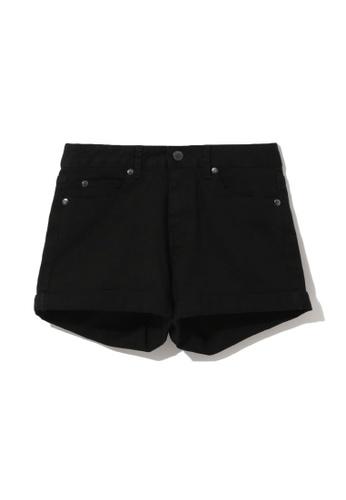 izzue black Cuffed denim shorts D6850AAE123D95GS_1