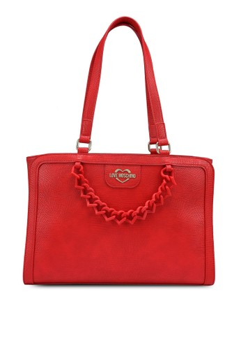 Love Moschino red Chain Snake Texture Tote Bag 04012ACC55D741GS_1