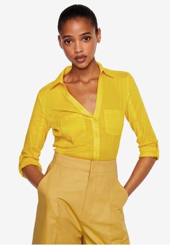 Mango yellow Ribbed Panel Shirt 62952AA16C587BGS_1