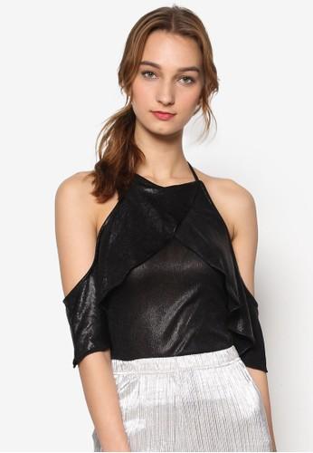 zalora taiwan 時尚購物網Zaza 荷葉裹飾挖肩上衣, 服飾, 上衣