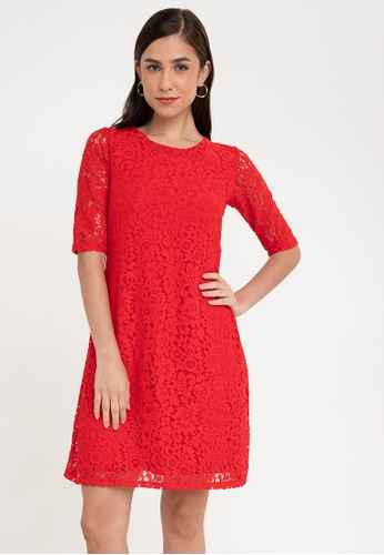 Ashley Collection red Lace Quarter Sleeve Shift Dress C157EAA188CD2BGS_1