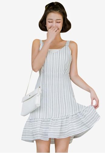 Tokichoi blue Stripe Tie-Front Dress BE645AA48D5332GS_1