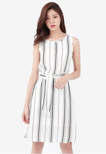 Kodz black Striped Tie-Waist Dress C5DA8AAD292357GS_1