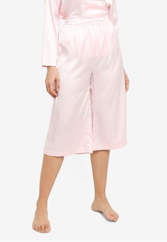 ZALORA BASICS 粉紅色 Lounge Satin Pants 6C8DFAAFD3FE63GS_1