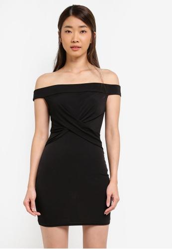 Miss Selfridge black Bardot Twist Bodycon Dress D8539AA16EAF4BGS_1