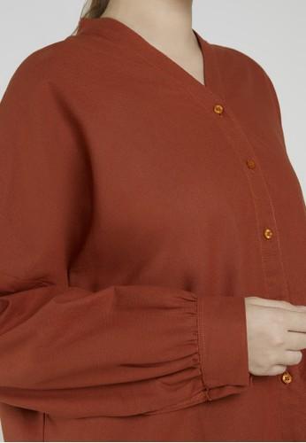 Point One brown Anneline Amber Kimono Shirt 7A409AA8EDACC7GS_1