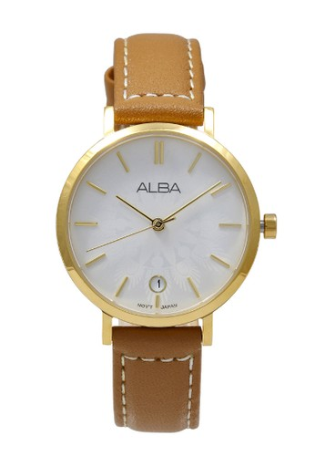 Alba brown ALBA Jam Tangan Wanita - Brown Gold White - Leather Strap - AG8J16 76530ACB979C21GS_1