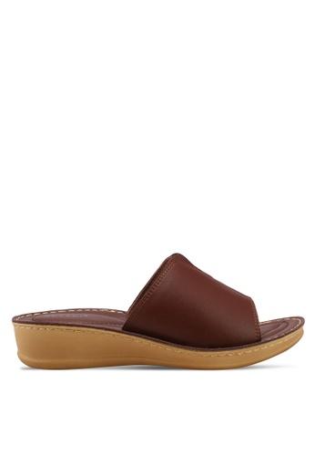 Noveni brown Slide On Wedges 34855SH8CF1FF0GS_1