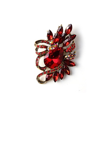 Glamorousky red Fashion Bright Plated Gold Geometric Red Cubic Zirconia Brooch 7CBE0ACA909C61GS_1