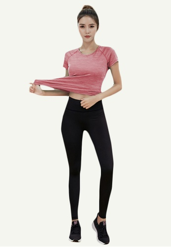 B-Code pink ZYG5166-Lady Quick Drying Running Fitness Yoga Sports Top and Leggings Two Pieces Set-Pink F3B20AA3CA55DCGS_1