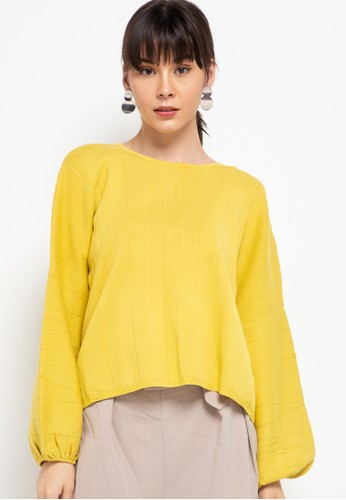 Uptown Girl yellow Drawstring Long Dolman Sleeve Knit Blouse 52B20AA675B4D3GS_1