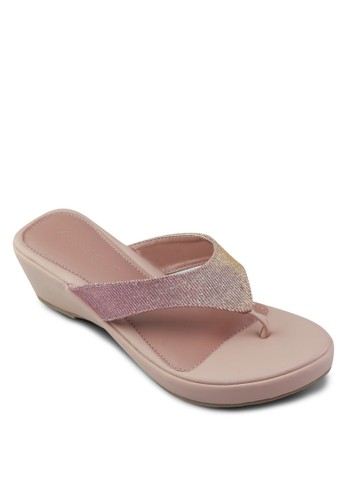 閃飾楔形esprit outlet 台中夾腳涼鞋, 女鞋, 楔形涼鞋