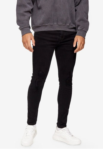 Topman black Washed Black Rip Spray On Skinny Jeans A1701AA571AFCFGS_1