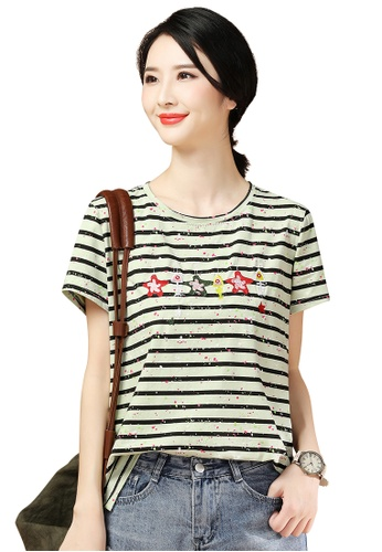 A-IN GIRLS green Embroidered Crew Neck Striped T-Shirt A16F8AA546437CGS_1