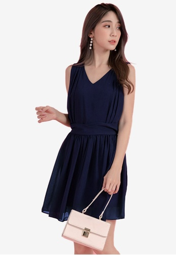 Eyescream navy Pleated Flare Dress BBFF6AA448C6AEGS_1