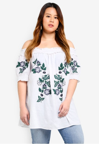 Dorothy Perkins white Plus Size White Embroidered Bardot Top 6B623AAC98A209GS_1
