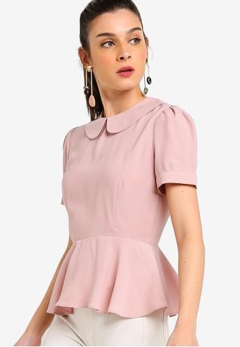 ZALORA 粉紅色 短袖荷葉飾滾邊上衣 E1DD5AA45D9C5DGS_1