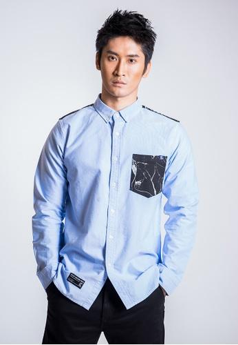 L.I.M.I.T.E 藍色 男裝雲石紋拼布牛津紡恤衫 F54E8AA2401FC9GS_1