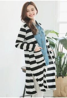 [IMPORTED] Striped Paradise Long Cardigan - Black